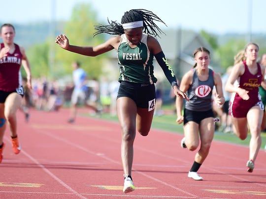 Tia Jones of Vestal High School winning a 100-meter