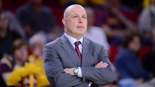 Arizona State Sun Devils head coach Herb Sendek looks
