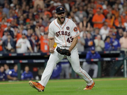 "FILE - In this Oct. 27, 2017, file photo, Houston Astros starting pitcher Lance McCullers Jr. reacts after getting Los Angeles Dodgers' Justin Turner to ground out during the third inning of Game 3 of baseball's World Series, in Houston.  McCullers Jr. has offered advice and a free playoff ticket to an 8-year-old special needs girl who apparently was yelled at by another fan for loudly cheering at an Astros game. McCullers on Wednesday, Sept. 26, 2018, tweeted ""Chloe, don't you EVER stop cheering"" and offered her a ticket for an Oct. 5 playoff game. (AP Photo/David J. Phillip, File)"