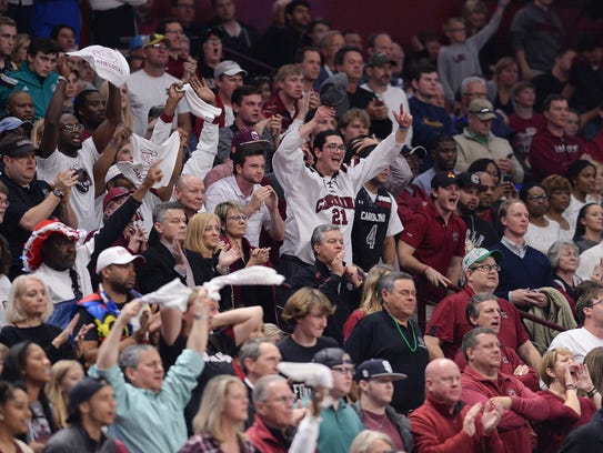 South Carolina fans cheer as the Gamecocks play Marquette