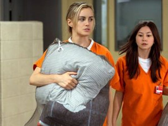 Taylor Schilling and Kimiko Glenn in a scene from 'Orange is the New Black.'