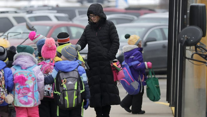 Students at Dr. H.B. Tanner Early Learning Center in Kaukauna got an early dismissal on Monday as schools across the region braced for the arrival of an ice storm that's expected to last through much of Tuesday.