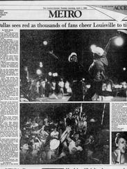 Courier Journal coverage of the 1986 Louisville men's