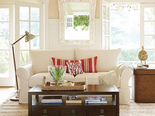 Stage a coffee table and make it the focal point of the room.