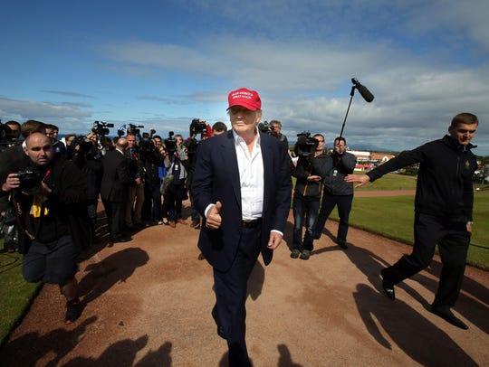 Donald Trump, then a candidate for president, arrives