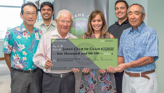 Bank of Guam continues to support the annual Japan Autumn Festival (Akimatsuri) as a Platinum sponsor. This will be the 38th Annual Japan Autumn Festival hosted by the Japan Club of Guam (JCOG) to be held Nov 18th at the Governor Joseph Flores Beach Park. Pictured from left: Jun Hiyoshi, JCOG VP of Education; David J. Arriola, BOG VP/Tumon Branch Manager; Hidenobu Takagi, JCOG President; Caroline H. Sablan BOG VP/Relationship Banking Manager; Joaquin L.G. Cook, SVP/Chief Sales & Service Officer; Yuji Sekiguchi, JCOG VP of Cultural Affairs & Commerce