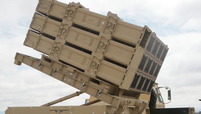 The Army's newest missile launch platform, the Indirect Fire Protection Capability Increment 2-Intercept Multi-Mission Launcher.