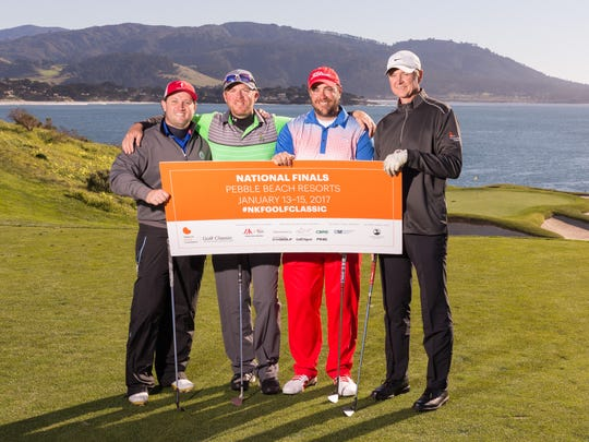 Four local golfers  competed for a national title at Pebble Beach in California on Jan. 13-15. The Naples-based team of: Benjamin Freigang, Med Ed Manager of BF Medical in Naples; Mark Adamczyk, Founder & Lawyer with Adamczyk Law Firm in Naples; and Patrick Fraley, Sales and Leasing Director of Investment Properties Corporation in Naples; and Richard Williamson, Owner of PME in Naples; shot 57-60-61 for a three-day total of 178 to finish third in the Gross Division in the four-person scramble event.