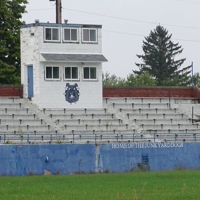The abandoned old Hutson Stadium in Crestline, unused