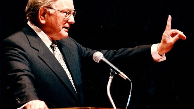 G. Ross Anderson giving a speech at Anderson University, then called Anderson College, in 1994.