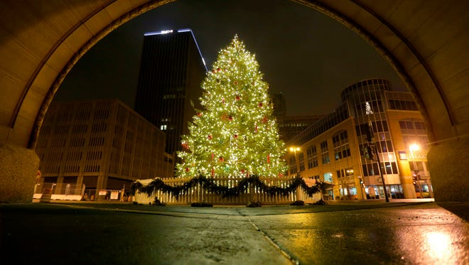 The annual city Christmas tree shines bright at Milwaukee City Hall, 200 E. Wells St., in 2017.