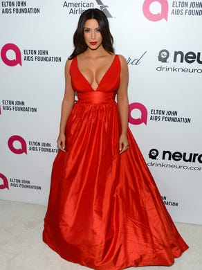 Kardashian steps out on Oscars night to celebrate at Elton John's annual party on March 2, 2014.