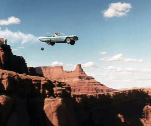 "The final scene from the 1991 film ""Thelma & Louise."""