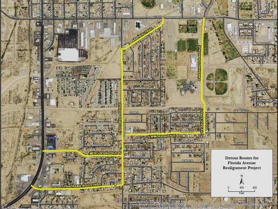 The City of Alamogordo has provided a detour map for