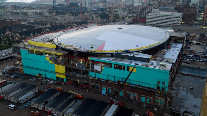 Little Caesars Arena construction, pictured in October 2016.