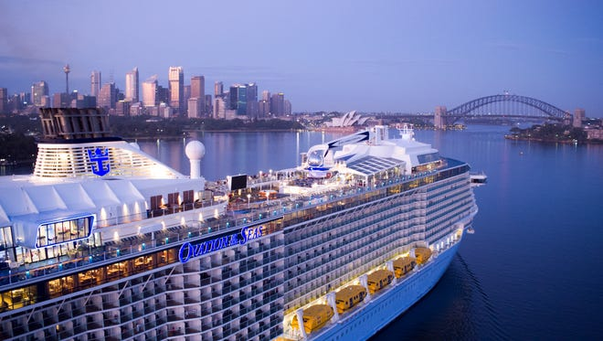 Royal Caribbean's Ovation of the Seas sailing into the port of Sydney, Australia.