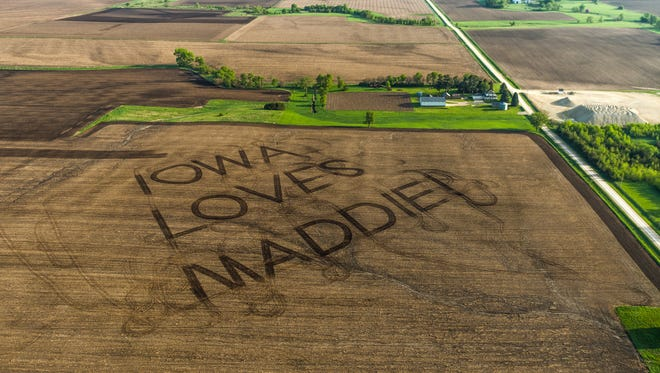 """The phrase, """"I Love Maddie"""" was plowed into a cornfield near Clarksville in preparation for her return home for American Idol."""