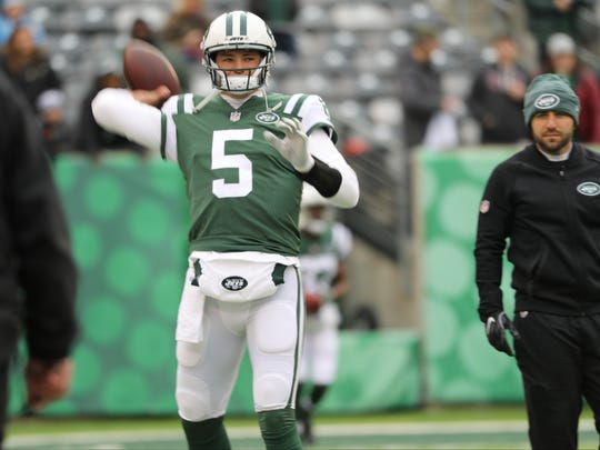 Christian Hackenberg is shown during warmups, Sunday,