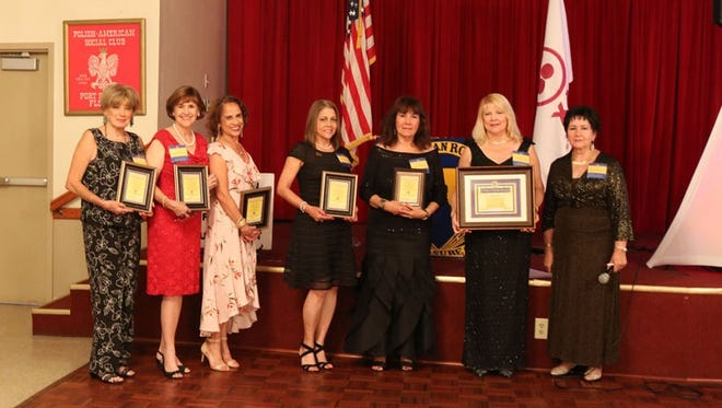 Nine members were honored for 'Outstanding Dedication and Service of 25 Years'. From left: Maite Peterson, Gayle Harrell, Dr. Carmen Boden, Griselda Gavidia, Nancy Rozon, Gladys Velez (founder) and Ida Gallant (Presiding Director). Not present: Maria Finnerty, Mercedes Marquez, Madel Gurley,
