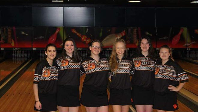 From left to right: Lauren Hertz, Megan Staley, Rianne VanBlaricum, Natalie Klein, Paige Winberg and Hailee Hale. These six make up a Brighton girls bowling team that just clinched the KLAA Gold and is seeking more.