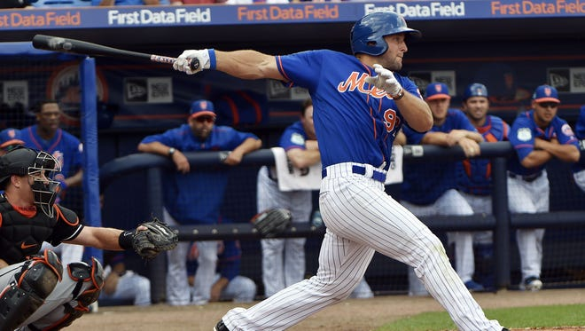 Tim Tebow grounded out in his first at-bat Monday, and later singled for his first Grapefruit League hit.