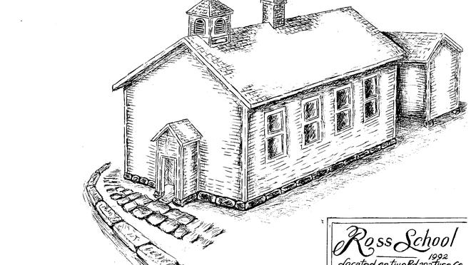 Ross School served the children of Mill Township for more than 100 years. This view of the school building was drawn by Wilbur Wolfe in 1992.