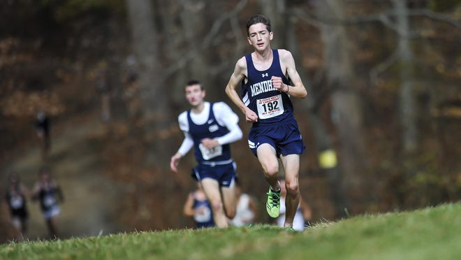Mendham sophomore Jack Jennings races to the finish line at the NJSIAA Meet of Champions at Holmdel Park in Holmdel on Nov. 18, 2017.