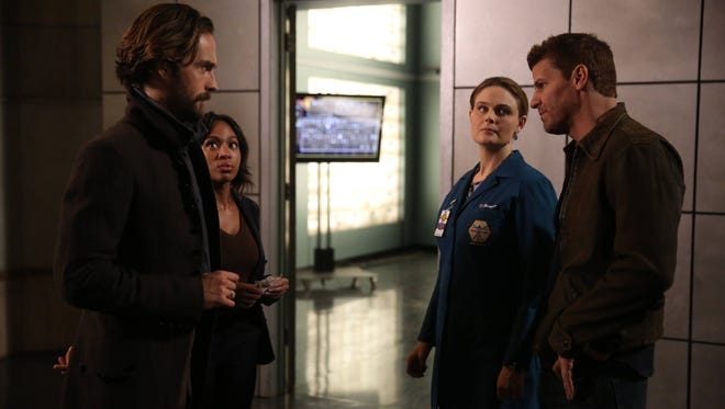 Tom Mison (left), Nicole Beharie, Emily Deschanel and David Boreanaz star in Thursday's 'Bones' and 'Sleepy Hollow' crossover episodes.