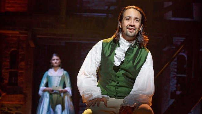 Lin-Manuel Miranda as Alexander Hamilton in a scene from the Broadway musical.
