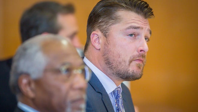 Chris Soules at court hearing Nov. 27, 2017, in Independence, Iowa. He is charged with leaving the scene in a fatal April car crash.