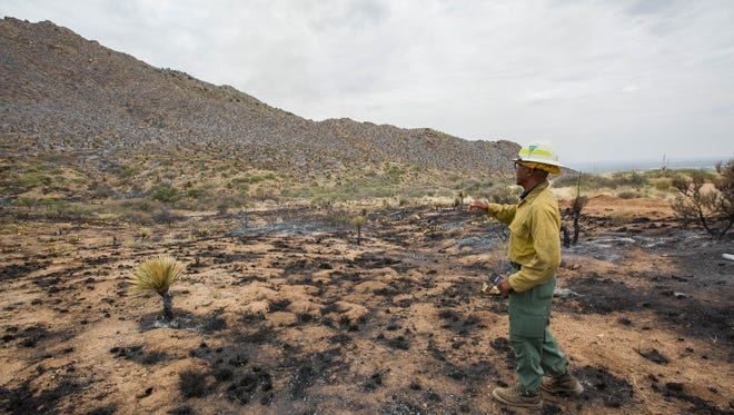 Rico Smith, BLM fire information officer, stands Friday June 29, 2018 in a area close to Mineral Hill and describes how the Organ Fire worked its way across the west side of the hill. Fire crews continue to battle the blaze on east side of the hill.