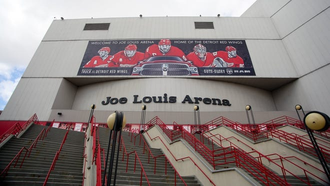 The entrance to Joe Louis Arena, home of the Detroit Red Wings.