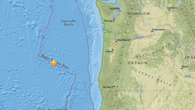 An earthquake has been recorded off Oregon's central coast.