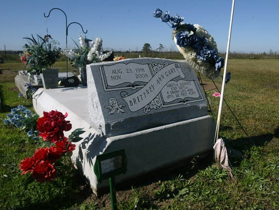 The grave of homicide victim Brittney Gary is seen Dec. 18, 2011 in a cemetery near Hathaway, La.