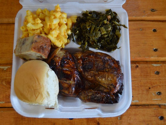 A barbecue chicken platter from EM-INGS, with homemade