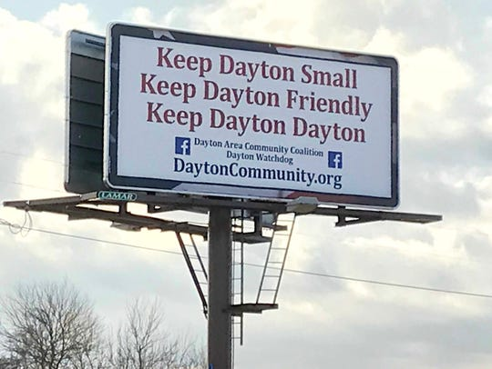 The billboard along Indiana 38, outside Dayton, is