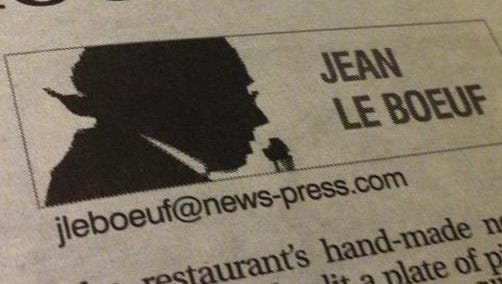 This shadowy silhouette served as Jean Le Boeuf's symbol starting in the early 1980s.