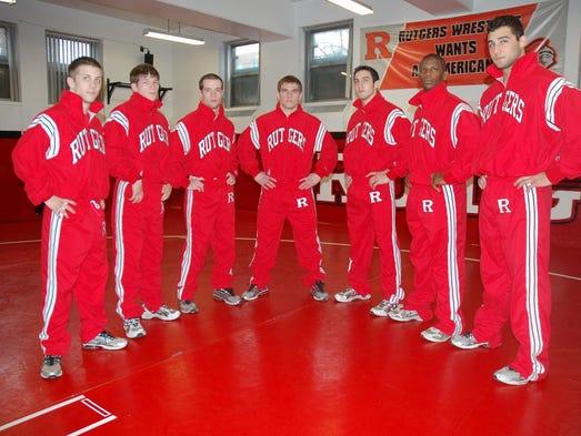Rutgers wrestlers (l-r) Joey Langel, Billy Ashnault,