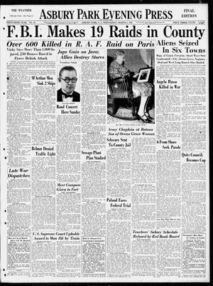 Front page of the Asbury Park Press on March 4, 1942, after the FBI raided homes and businesses of Japanese, German and Italian citizens.