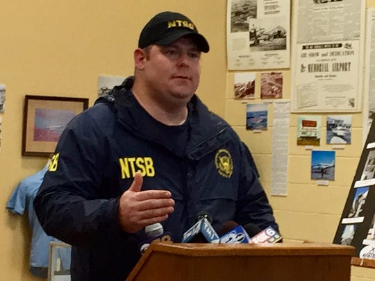 Jack Vanover, an air safety investigator with the National Transportation Safety Board, speaks at a press conference at the Aviation Heritage Center in Sheboygan Falls on Saturday, July 21.