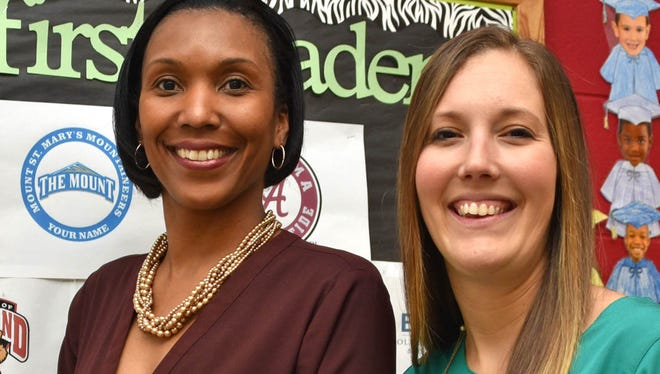 The new administrative team at Nellie H. Stokes Elementary School  — principal Darisa Everett, left, and assistant principal Danielle Dienert — pose Tuesday morning inside the school.