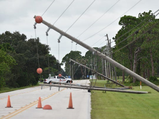 Downed power lines from Hurricane Matthew were seen