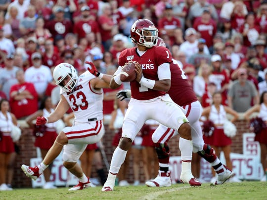 Sep 7, 2019; Norman, OK, USA; Oklahoma Sooners quarterback Jalen Hurts (1) throws during the first half against the South Dakota Coyotes at Gaylord Family - Oklahoma Memorial Stadium. Mandatory Credit: Kevin Jairaj-USA TODAY Sports