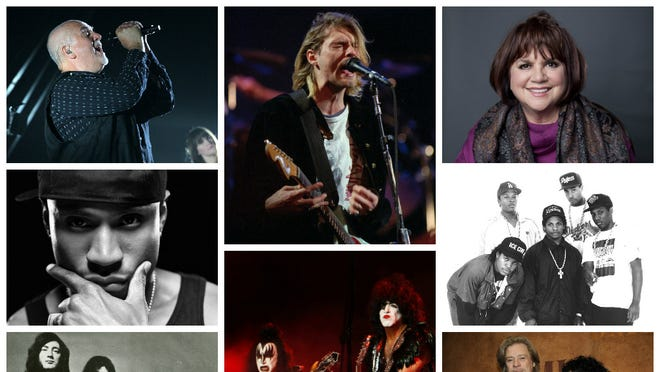 A collage of the some of the nominees for the Rock and Roll Hall of Fame
