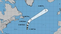 Tropical Storm Rita's forecast cone as of the 11 a.m.