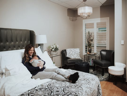 New mom Alycia Duncan,  and her baby, Beckham, relax