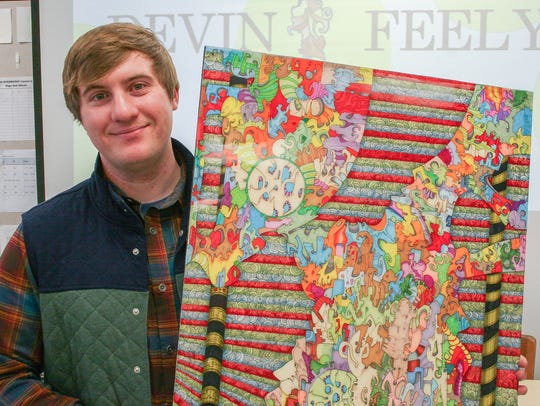 Easton artist Devin Feely brought his intriguing artwork