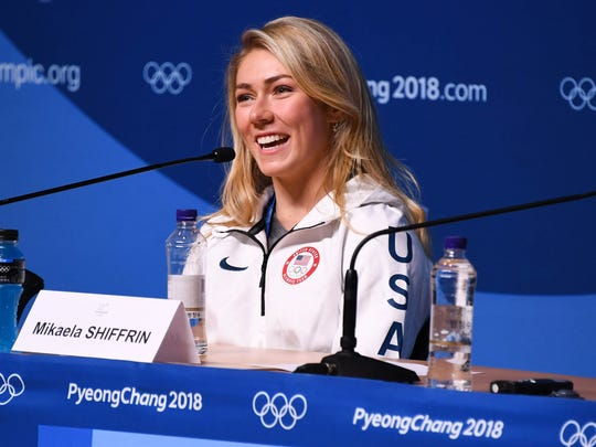 Mikaela Shiffrin speaks at a press conference in Pyeongchang.