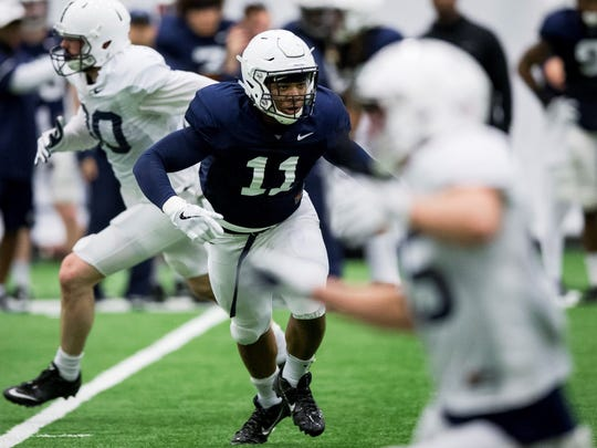 Penn State linebacker Micah Parsons pursues a runner during the NCAA college football team's spring practice Wednesday, March 28, 2018, in State College, Pa. (Joe Hermitt/PennLive.com via AP)