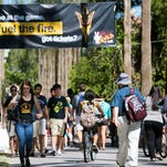 Students walk to class at Arizona State University's Tempe, Arizona, campus.